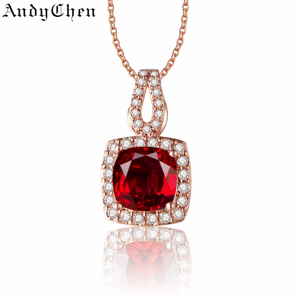 Square Ruby Jewelry Rose Gold Plated Vintage Necklaces & Pendants for Women Crystal Bijoux Femme Accessories ASN009(China (Mainland))