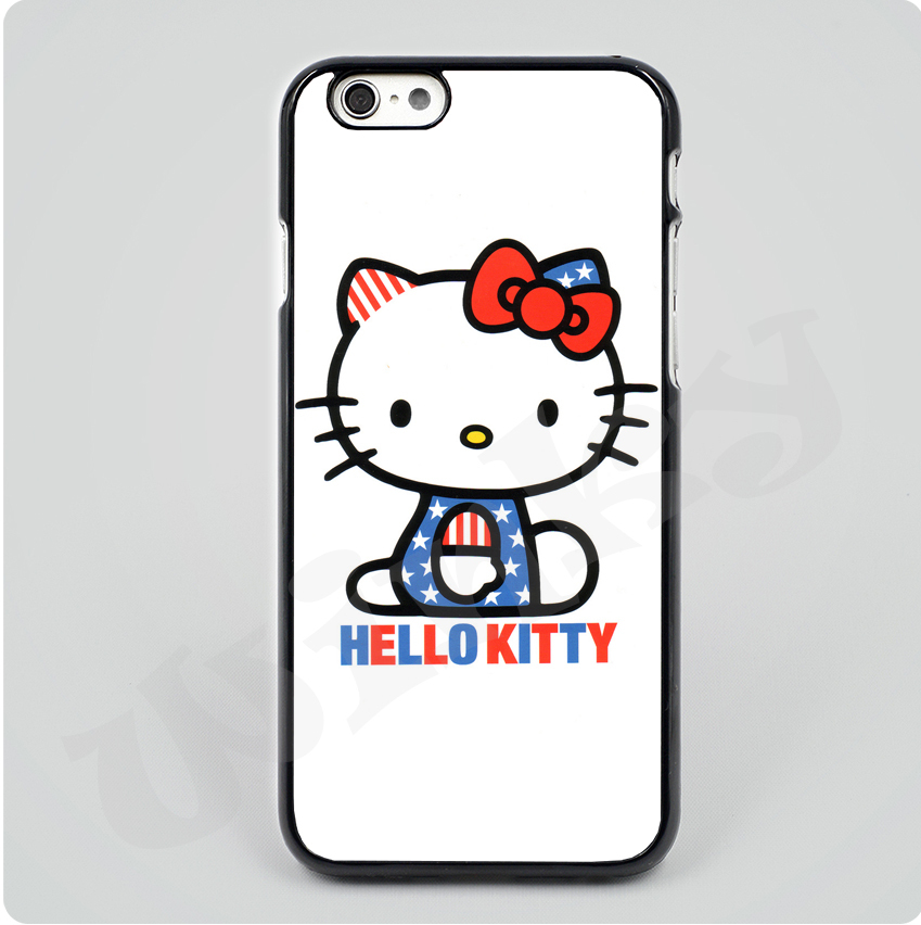 Hello kitty KT uk usa flag stars Black Hard Skin mobile phone Cases Cover housing For iPhone 4S 5S 5C 6 6Plus Free shipping(China (Mainland))