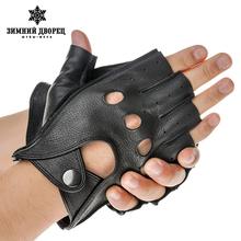 Мода кожаные перчатки мужчин, черный овчины мужские кожаные перчатки, Панк стиль кожаные перчатки без пальцев, Полую конструкцию(China (Mainland))