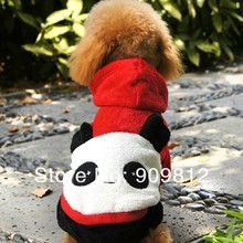 20pcs/lot Free Shipping Happy Panda Turned Clothing Pet Autumn Winter Clothing Teddy Poodle Four-legs Dog Clothes XS/S/M/L/XL(China (Mainland))