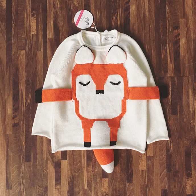 kids knitted sweater Spring autumn winter boys girls children fox cartoon sweater fashion kids knitted cute 100% cotton sweater()