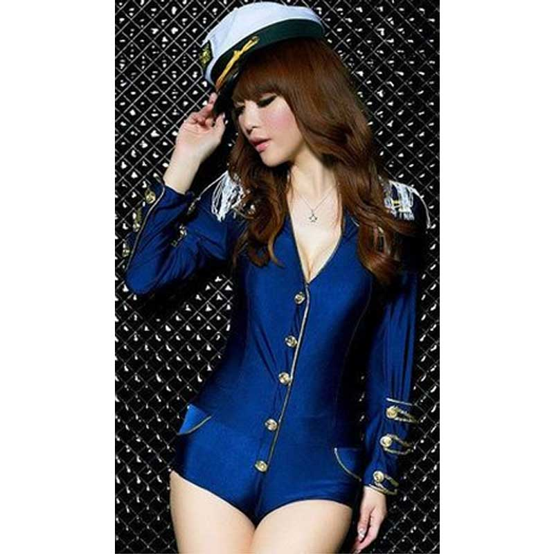 2016 wholesale factory price sexy new style navy blue suits fashion uniforms temptation police women performance stage costume(China (Mainland))
