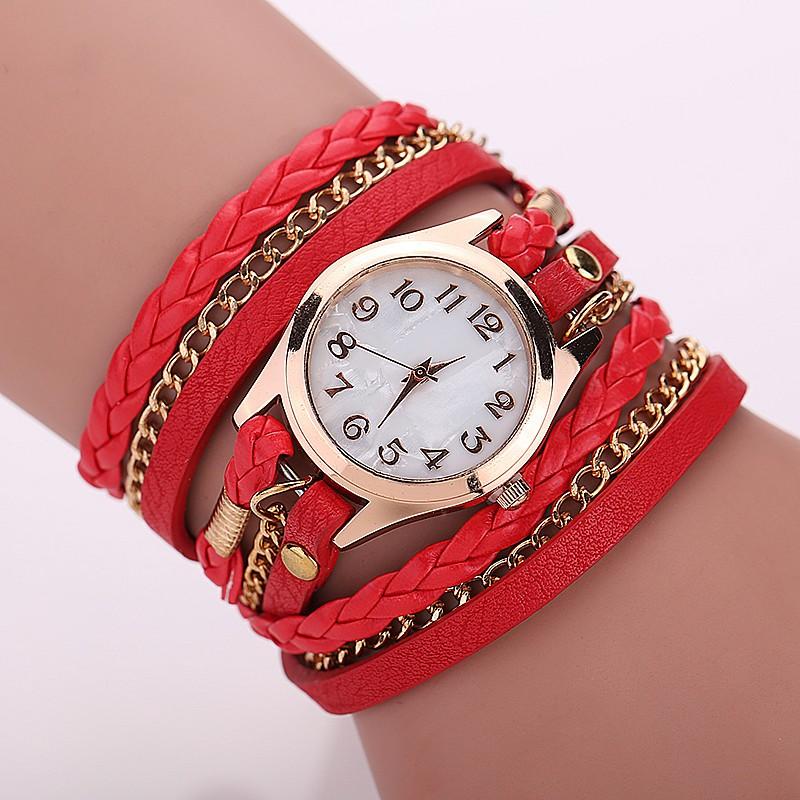 Часы на кожаном ремешке-браслет фото