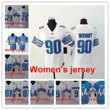 A+++ Women ladies all stitched Detroit Lions ladies 9 Matthew Stafford 21 Ameer Abdullah 81 Calvin Johnson Embroidery Logos(China (Mainland))