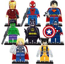 8 шт./компл. Super Heroes Мстители Совместимые Minifigures Строительные Блоки Устанавливает Аниме Кирпичи Игрушки для детей подарок с коробке