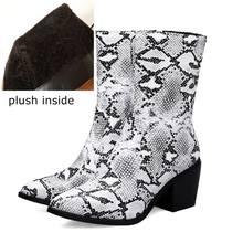 ALLBITEFO boyutu: 34-43 kalın topuk kadın botları seksi yılan derisi yüksek topuklu kadın ayakkabıları kış yarım çizmeler kadınlar kızlar için çizmeler(China)