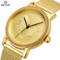 MEGIR Fashion Top Brand Men Waterproof Mesh Strap Simple Style Unique Design Gold Color Luxury Watches