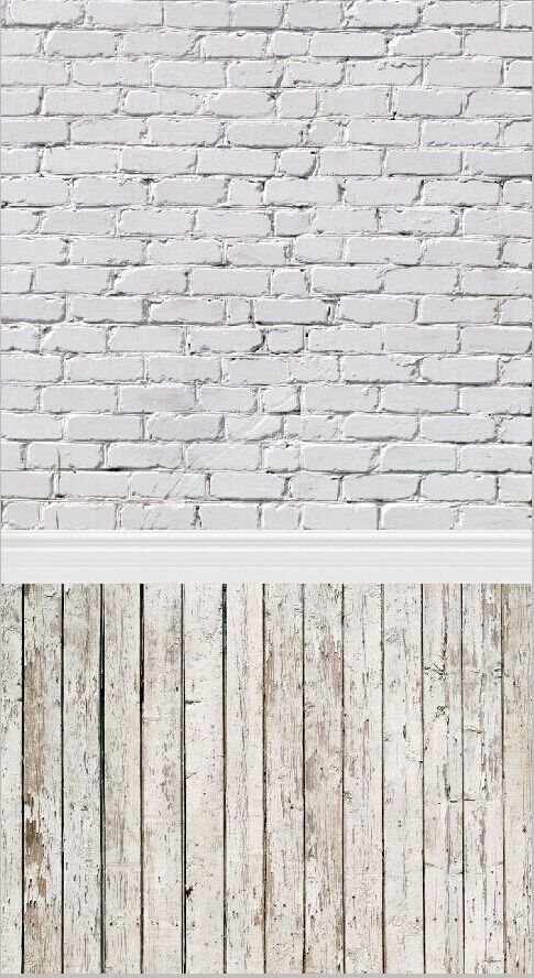 5x10FT White Bricks Wall Trim Portion Vintage Light Wooden Floor Custom Photography Backdrops Studio Backgrounds Vinyl 1.5x3m(China (Mainland))