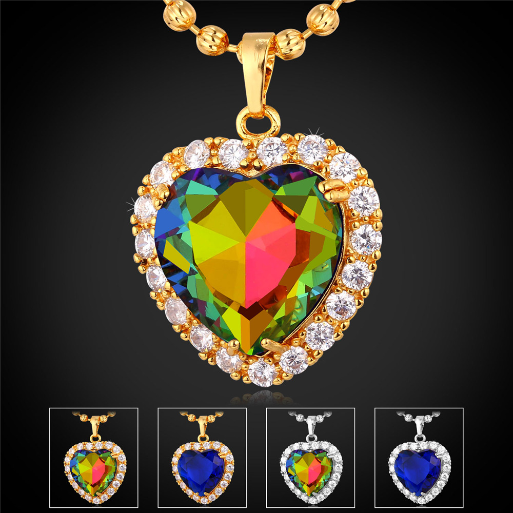 Blue Sapphire Jewelry Pendant Necklace Women Valentines Gift Platinum/Gold Plated Romantic Titanic The Heart Of The Ocean IP1698(China (Mainland))