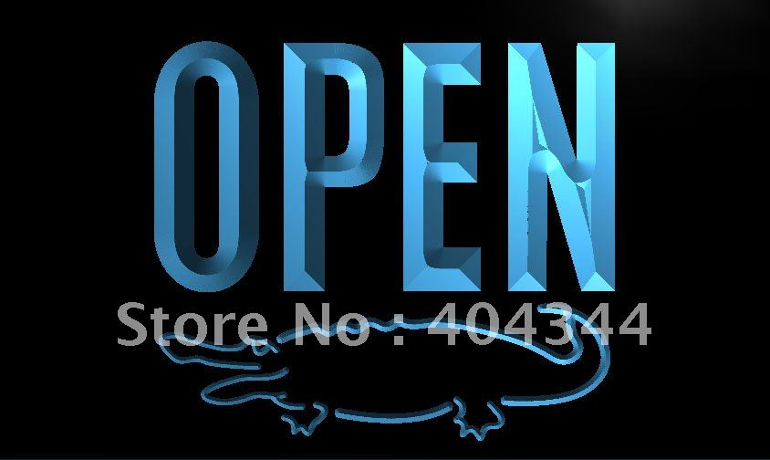 LK858- OPEN Crocodile Display Bar LED Neon Light Sign home decor crafts(China (Mainland))