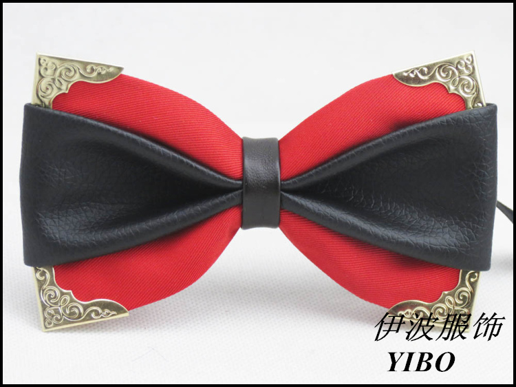 diy bow tie married black leather butterfly big