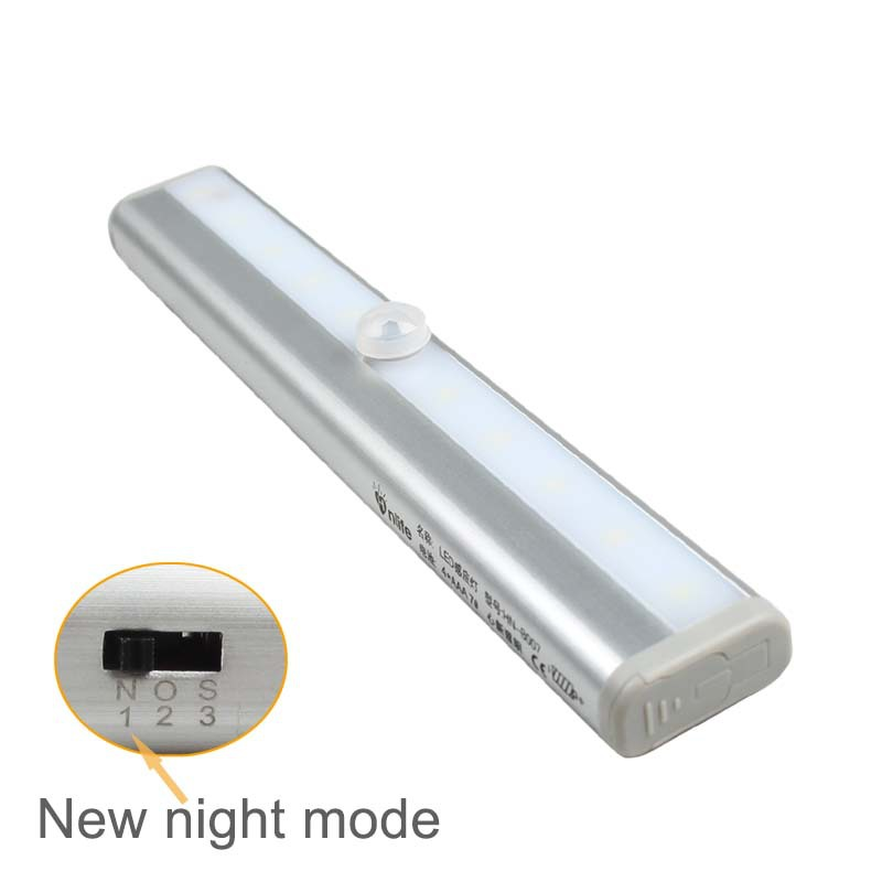 10-LED Wireless Motion Sensing Closet Cabinet LED Night Light / Stairs Light / Step Light Bar (Battery Operated) - Silver B007(China (Mainland))
