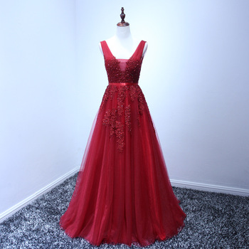 Robe De Soiree 2015 Wine Red Lace Beading Sexy Backless Long Evening Dresses Bride Banquet Elegant Floor-length Party Prom Dress