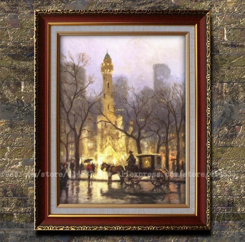 Prints Thomas kinkade oil painting The water tower,chicago canvas print Landscape painting Home decor modern wall painting Frame(China (Mainland))