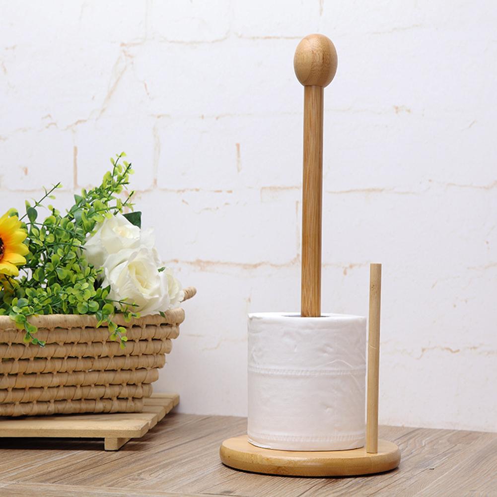 bamboo kitchen toilet paper towel roll holder rack stand. Black Bedroom Furniture Sets. Home Design Ideas