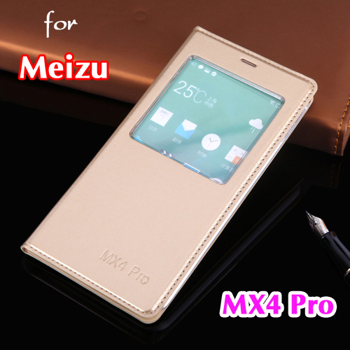 Luxury Slim Thin View Window Shell Shockproof Shock Proof Phone Bag Flip Back Cover PU Leather Case Holster For Meizu MX4 Pro(China (Mainland))