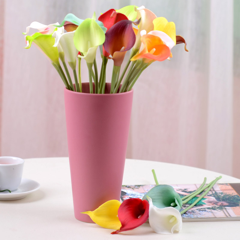 12 Colors! 18pcs/lot Spring Fresh PU Latex Calla Lily Artificial Flowers Home Decorations Wedding Bridal Bouquets
