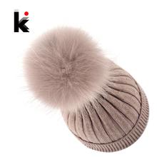 Fur Pompom Ladies Knit Wool Winter Women Hat Beanie Bonnet Knitted Skullies Harajuku Winter Cap Female Hats For Women Beanies(China (Mainland))