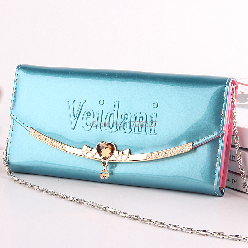 The new patent leather wallet with chain length ladies special hand bag shoulder bag factory price direct selling QB010(China (Mainland))