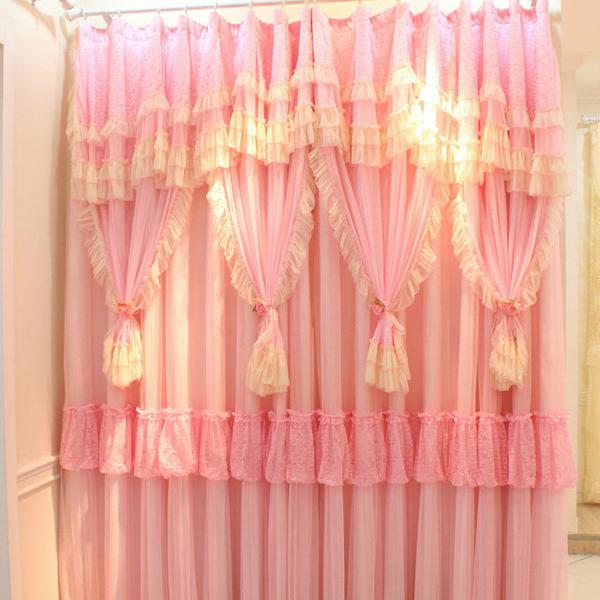 Pink White Lace Ruffled Curtains Cortinas Para Sala Window Valance Shade Cloth Tulle Curtain