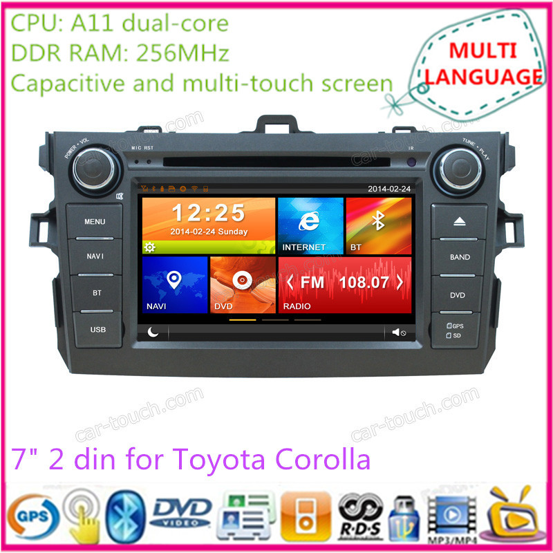 7 inch touch screen 2 din car dvd gps multimedia player automotive navigation system radio Toyota Corolla EX 08-10 - Cartouch Entertainment store