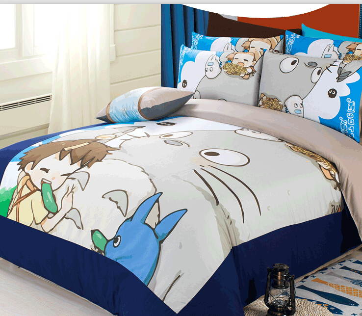 Hot Selling 3pcs/4pcs totoro boys bedding sets quiltcover fitted sheet oil print cartoon Twin/Full/King Size queen duvet cover(China (Mainland))