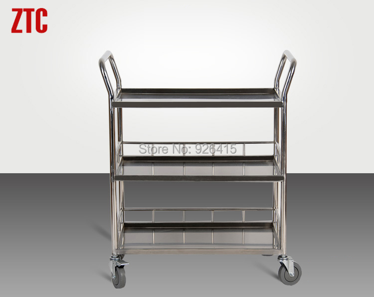 Three shelves laboratory two-way utility trolley,chemical laboratory tray handcart with wheels,heavy duty delivery hand truck(China (Mainland))