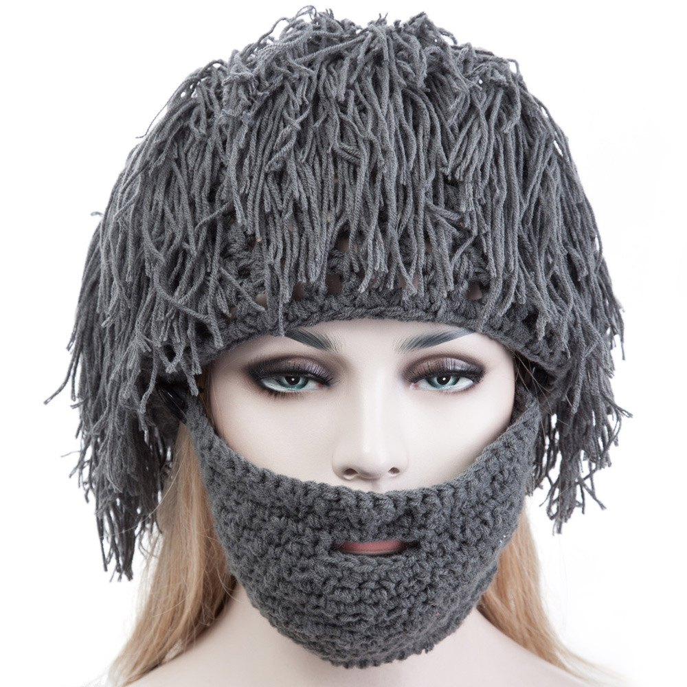 New Novelty Hat Crazy Wig Handmade Knitted Hats with Wacky Stubble Beard High Quality Winter Hat for Family and Friends 1675429(China (Mainland))