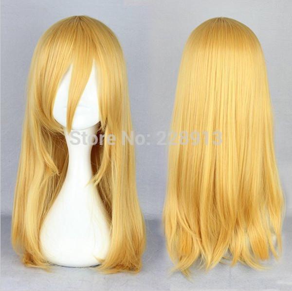 Free Shipping Halloween 55cm Medium Straight Light Yellow Attack on Titan Krista Lenz Cosplay Wig<br><br>Aliexpress