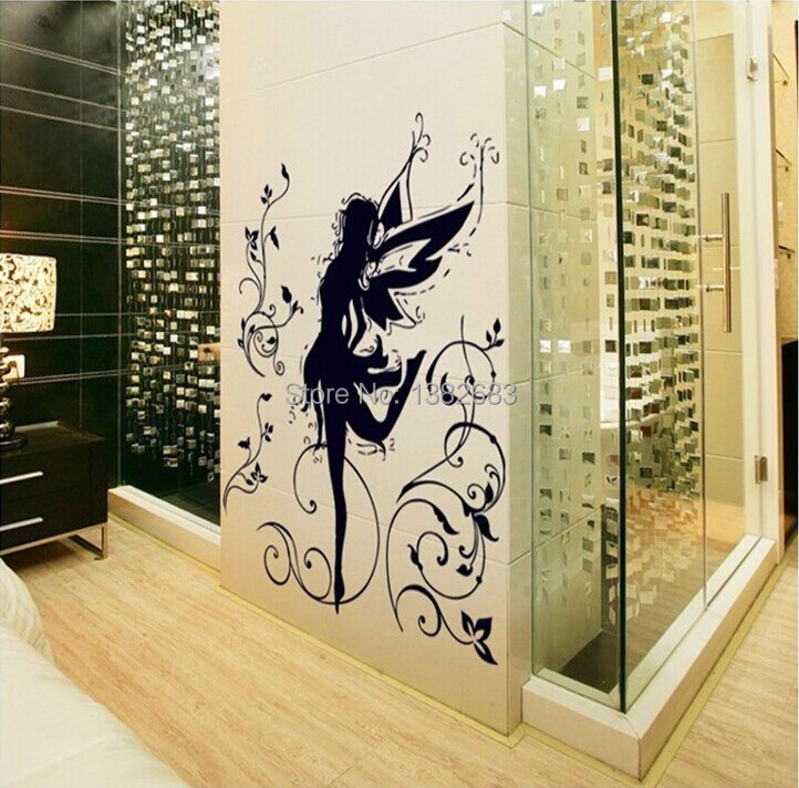 Free Shipping High Quality Black Elves Flying Fairy DIY Removable Wall Stickers Parlor Kids Bedroom Home Decor House AY9113(China (Mainland))
