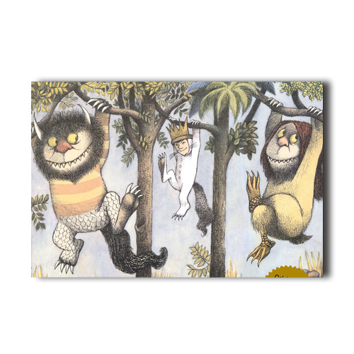 the wild things are hanging from trees print collage poster wall decor. Black Bedroom Furniture Sets. Home Design Ideas