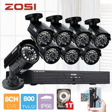 ZOSI 8CH CCTV System 8CH D1 DVR 8PCS 800TVL Bullet Outdoor Home Video Camera System Surveillance Kits 1TB Hard Disk