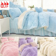 4PCS Bedding Sets Lamb Fur Mink Blanket Faux Fur Fleece Throw Blanket Fur Cover Bed Skirt Quilt Comforter Coverlet Thermal T41(China (Mainland))