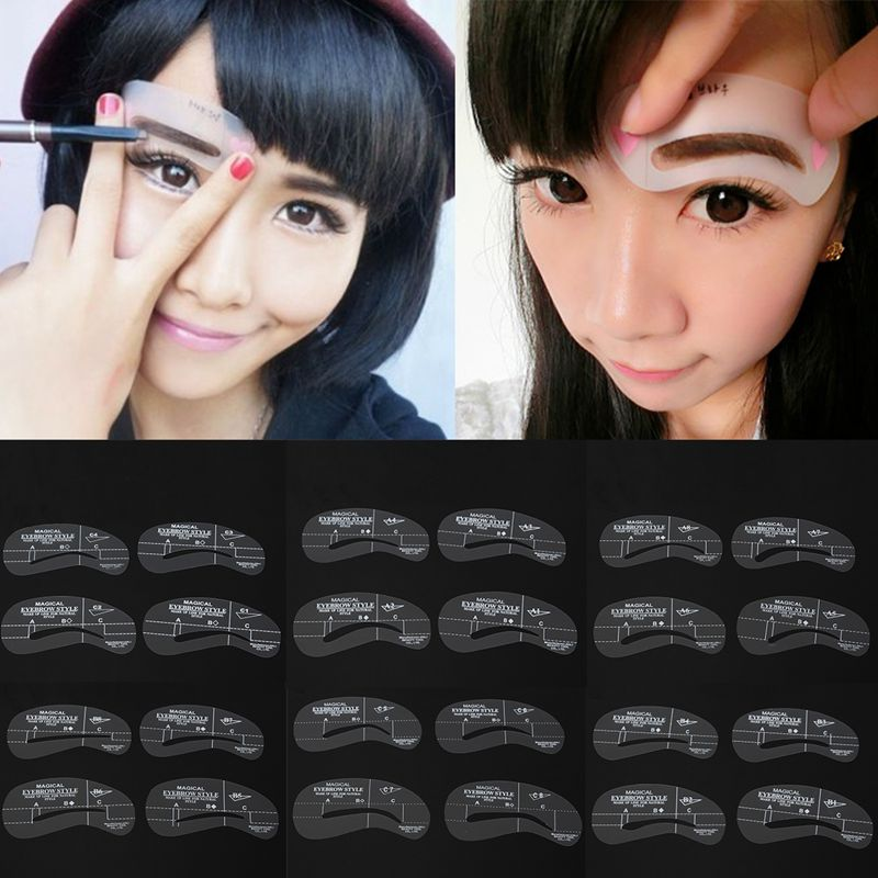 24 Style/6Set Sopracciglio Eyebrow Shaping Stencil Grooming Template Women Beauty Makeup Tools Easy Use(China (Mainland))