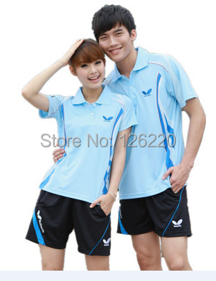 Table tennis clothing for men and women suit Lapel summer short sleeved sportswear couples shirt(China (Mainland))