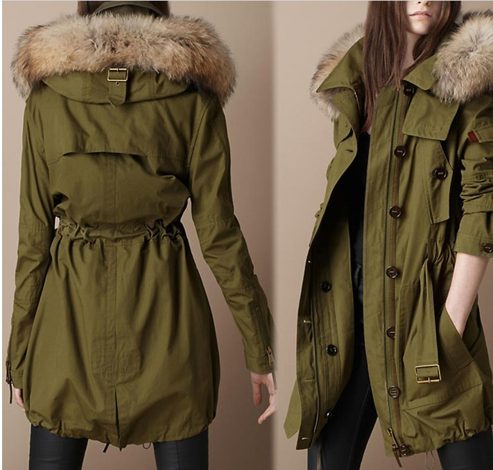 new Raccoon fur collars classic army green cotton-padded jacket - April liang's store