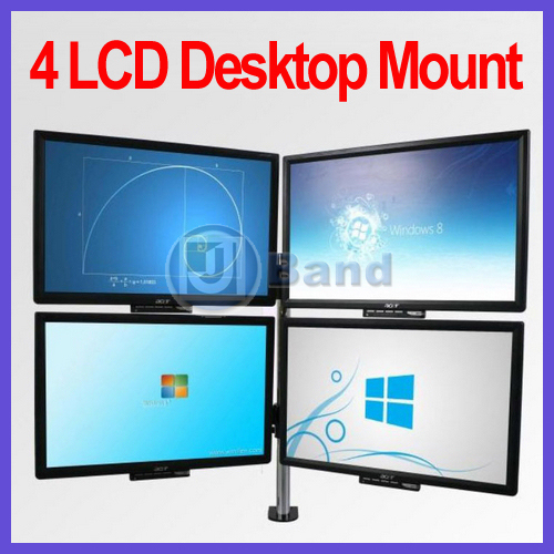 """Quad 4-way LCD Monitor Desktop Mount with Tilt & Swivel for 13""""-23"""" PC Monitors TVs DHL Free Shipping"""