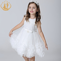 Nimble Girls Dress for Wedding Pageant White Pleated Flowers Embroidery Beading Dresses for Girls Bridesmaid