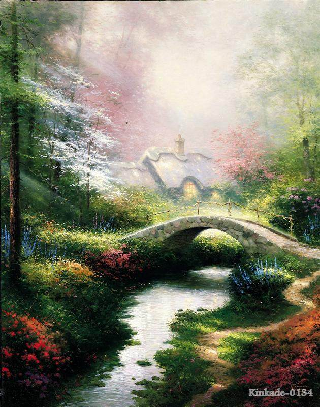 Thomas Kinkade Brookside Hideaway canvas print pictures decorated Father Gift discount decoration living room wall de(China (Mainland))