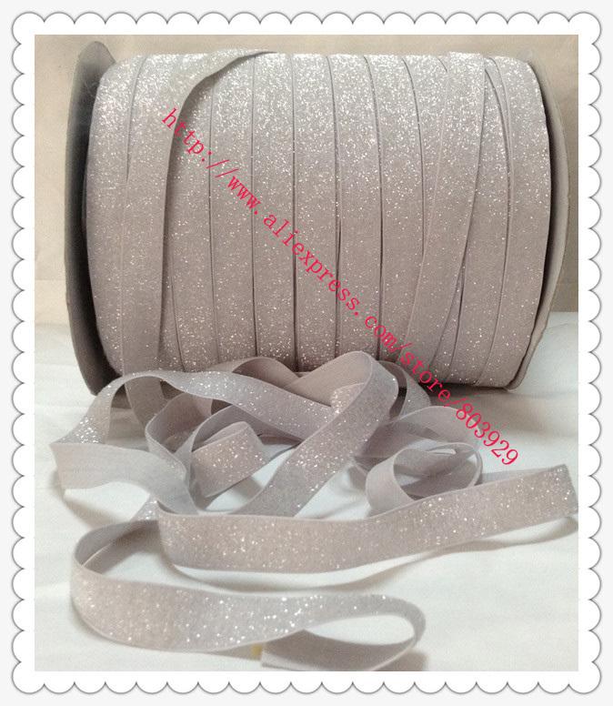 "Stretch Metallic Velvet Ribbon Light Silver Sparkle Ribbon 5/8"" Elastic Frosted Light Silver Glitter Ribbon(China (Mainland))"