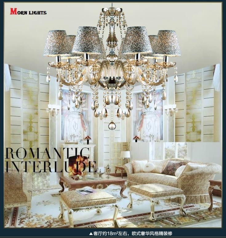 Modern Europe chain pendant led crystal pendant lights e14 bulb lamp chandelier ceiling D60*H60cm light fixtures for living room(China (Mainland))