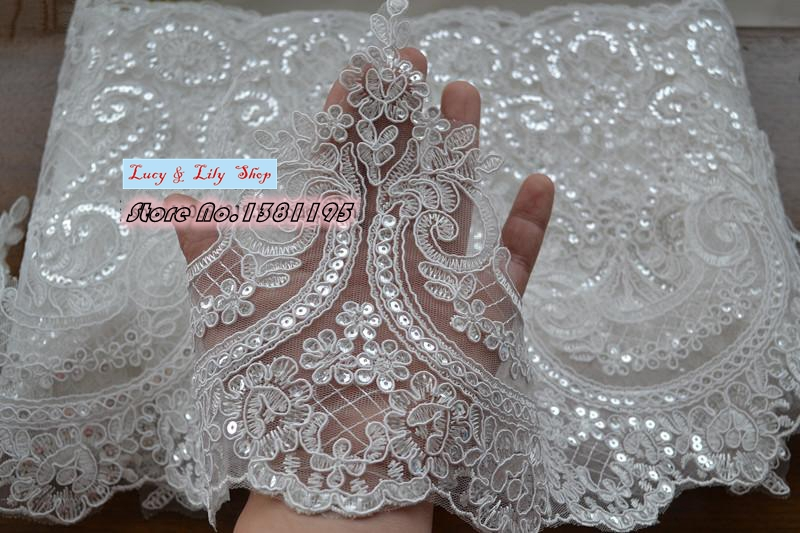 24cm high quality scalloped tulle sequins lace trim bling for Wedding dress trim beading