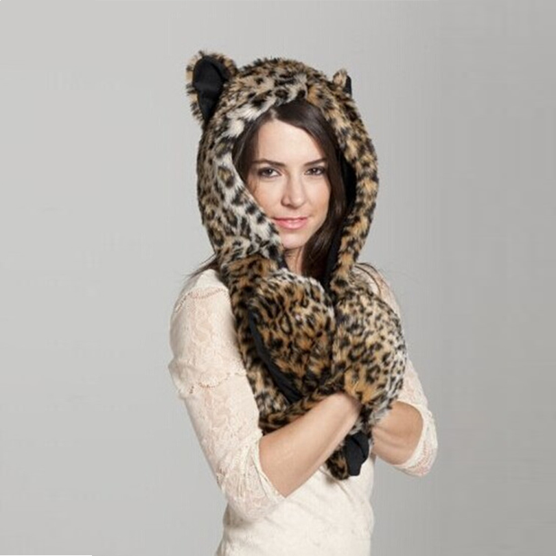 Winter Faux Fur Hood Animal Hoods Hat Cap Cartoon Plush Hats With Scarf Paws Sets Warm Caps Beanies Cartoon Leapord Hat(China (Mainland))