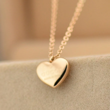 Elegant Heart Shape Short Necklace Titanium Steel & Rose Gold Plated Woman Fine Jewelry Birthday Gift Free Shipping Never Fade