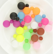 7 Pairs/lot Mix Colors Two Ball Fashion Pearl Earrings Brincos Big Double Side Earrings Jewelry for Women(China (Mainland))