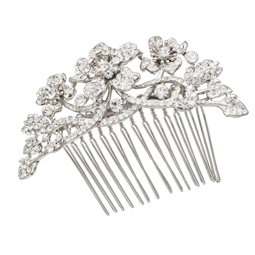 Crystals Rhinestone Hair Comb Flower Jewelry for Tiara Wedding Bridal Hair Pins Accessories for Women Banquet Brand CO2255R(China (Mainland))