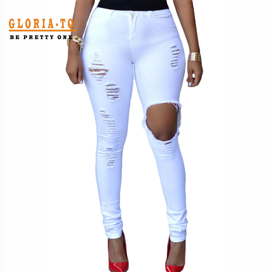 White ripped skinny jeans for women – Global fashion jeans collection