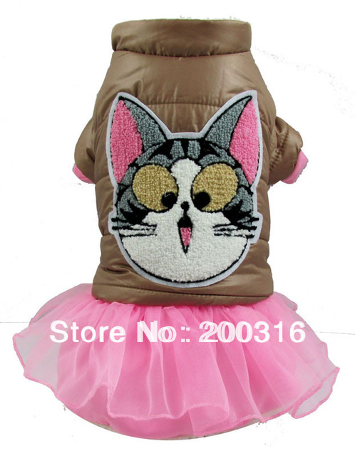 Wholesale New Arrival cotton dress Dogs winter Coat  with cute picture  Free shipping dogs winter dress coat for dog