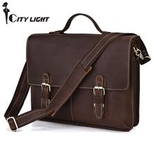 Vintage Crazy Horse Leather men messenger Bag Laptop Bag Business casual style briefcase handbags men's shoulder bag(China (Mainland))