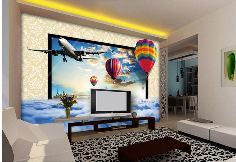 custom 3d photo wallpaper mural 3d wallpaper Hot air balloon sky clouds airplane backdrop living 3d wallpaper(China (Mainland))